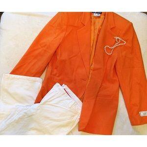 SAG Harbor sz 12 orange suit jacket blazer NWOT